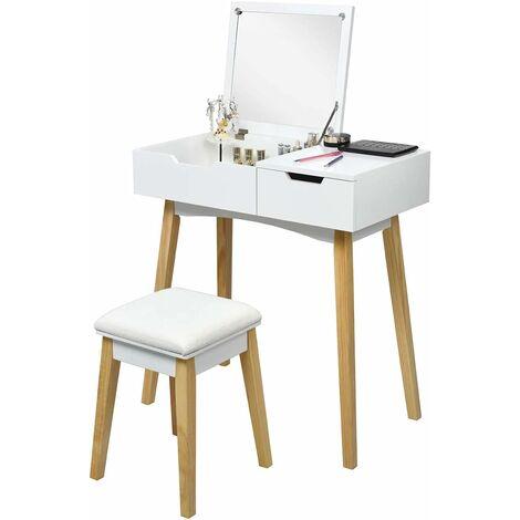 Tocador de Maquillaje con Espejo y Taburete Mesa Escritorio Mesa Cosmética para Dormitorio Salón Blanco