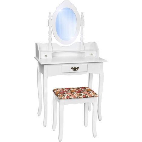 Tocador estilo antiguo con espejo y taburete - tocador de maquillaje, mesa de madera con espejo y asiento, cómoda con espejo y cajones - blanco