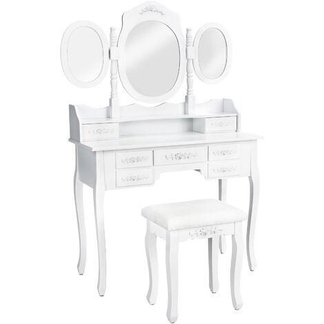 Tocador estilo clásico con 7 cajones, espejo y taburete - tocador de maquillaje, mesa de madera con espejo y asiento, cómoda con espejo y cajones - blanco