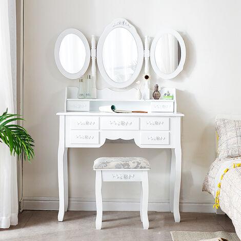 Tocador estilo clásico con 7 cajones | triple espejo plegable y taburete | blanco 90x40x145cm