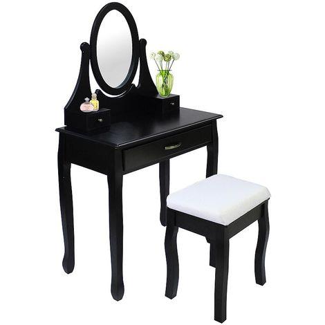 Tocador, Mesa de Maquillaje, 3 cajones, espejo ovalado, Negro, Material: MDF, Madera paulownia