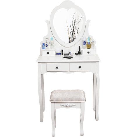 Tocador | Mesa de Maquillaje 4 Cajones | Espejo en Forma de Corazón | Taburete Acolchado - Blanco 75×40×138cm