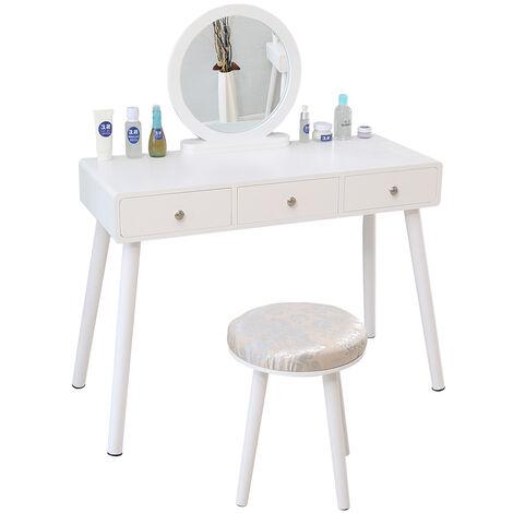 Tocador Mesa de Maquillaje Belleza 3 Cajones +Espejo + Taburete Acolchado ,100*40*125CM (Blanco)