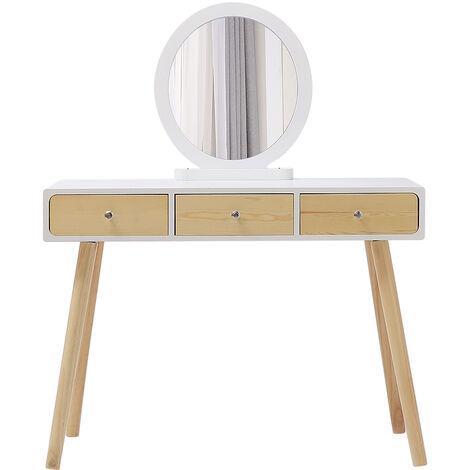 Tocador Mesa de Maquillaje Belleza 3 Cajones +Espejo + Taburete Acolchado ,100x40x125cm (Color de madera)