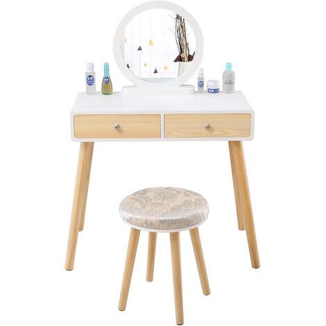 Tocador Mesa de maquillaje con 1 espejo giratorio 2 cajones 1 taburete