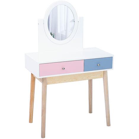 Tocador mesa de maquillaje con 2 cajones 1 espejo estilo escandinavo Rosa y azul