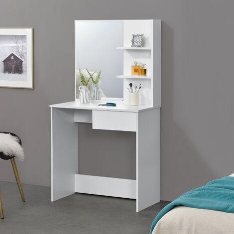 Tocador - Mesa de Maquillaje con Espejo - 141 x 75 x 40 cm - Mesa cosmética - con Cajón y 3 Estantes - Blanco