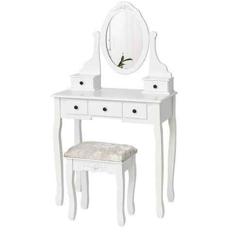 Tocador, mesa de maquillaje con espejo ovalado y taburete - L.75 x P.40 x H.136 cm