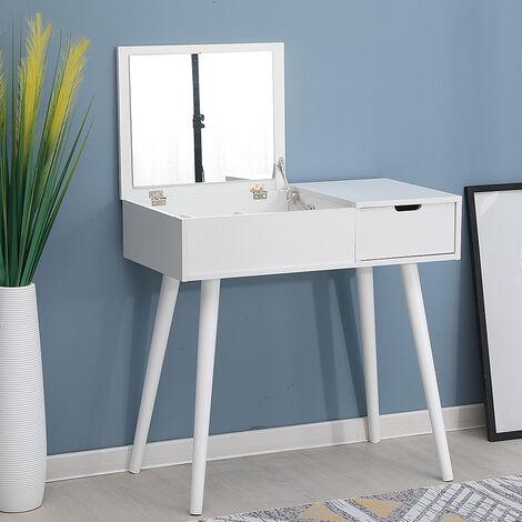 Tocador Mesa de maquillaje con espejo plegable, 1 cajón de almacenamiento, taburete