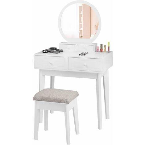 Tocador Mesa de Maquillaje con Espejo y Taburete de Madera con 4 Cajones Blanco