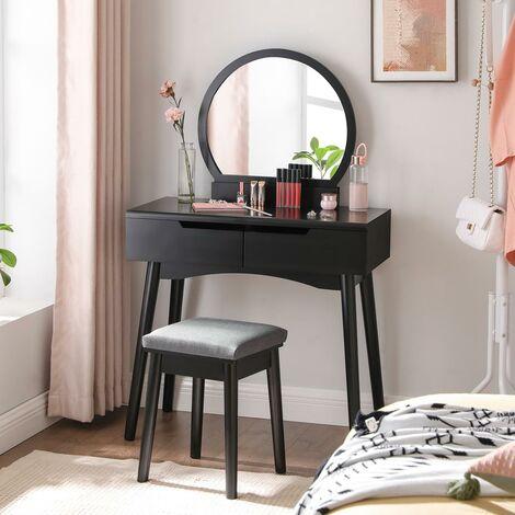 Tocador Moderno con 2 cajones Gruesos, con rieles, Espejo Redondo y Taburete, tocador, Madera, 80 x 40 x 128 cm, Color Negro RDT11BK