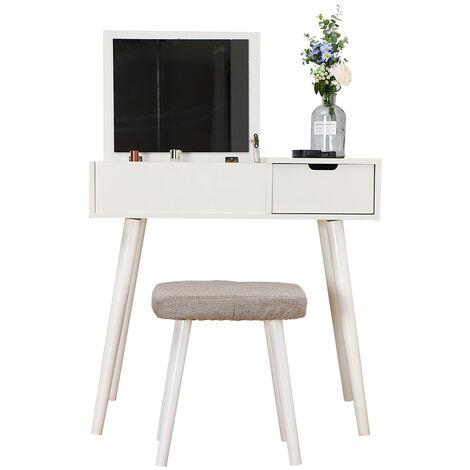 Tocador Moderno, Mesa para Maquillaje, Taburete Blando+Espejo Cuadrado, con 1 Cajón Caja de Maquillaje, Blanco