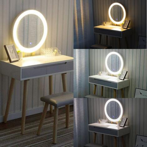 Tocador y espejo Muebles de maquillaje Tocador con juego de taburetes acolchados de madera