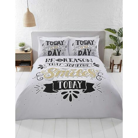 Today Is The Day Double Duvet Cover Set Bedding Bed Quilt Set Black White Gold