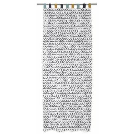 today rideau 100 coton 140x240 cm blanc et noir. Black Bedroom Furniture Sets. Home Design Ideas