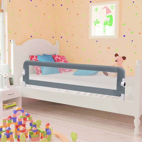Toddler Safety Bed Rail Grey 150x42 cm Polyester