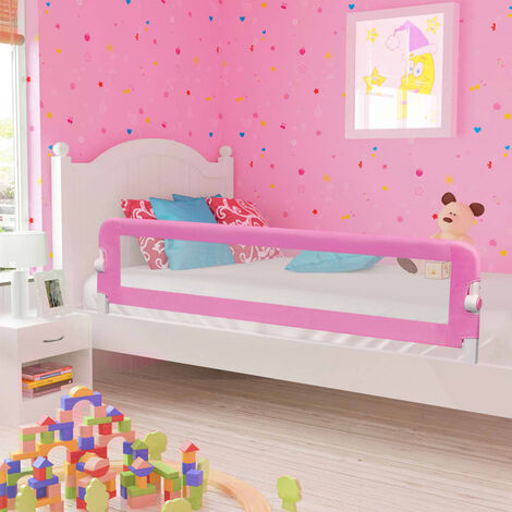 Toddler Safety Bed Rail Pink 180x42 cm Polyester - Pink
