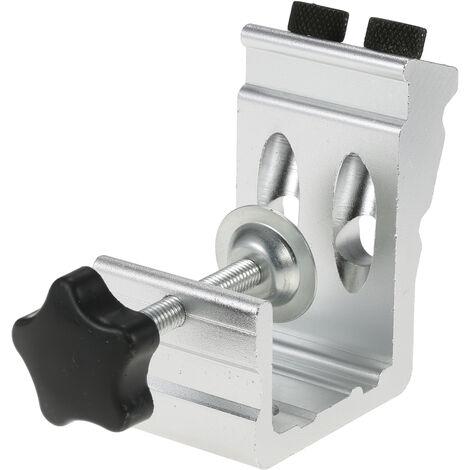 Todo en uno aluminio agujero de ocultacion Jig Kit de 15 grados para tacos de carpinteria Kit oblicua Localizador de Agujeros con Bit 9 mm Paso Taladro enclavijar perforadora con Buid-en Clamp, Plata