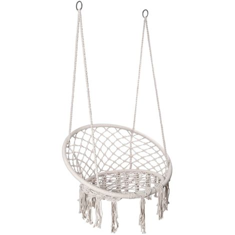 TOGI - Chaise suspendue balançoire de jardin style boho - Charge maximale 120 kg - Fixation à un ou deux points - Déco jardin - Crème