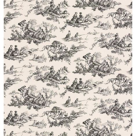 Toile De Jouy French Print Wallpaper Vinyl Beige Black Scenic Nature Fine Decor