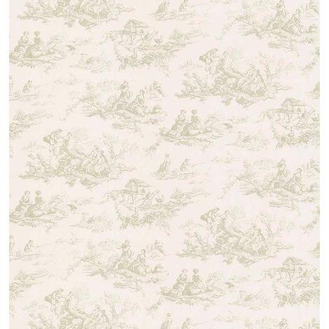 Toile De Jouy French Print Wallpaper Vinyl Cream Green Scenic Nature Fine Decor