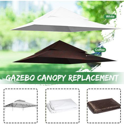 Toile de Rechange pour Gazebo Tonelle Couverture de remplacement à 2 niveaux pour cadre Madaga 360X360CM BLANC