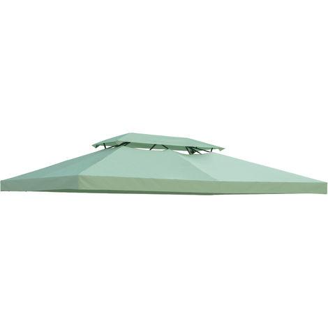 Toile de rechange pour pavillon tonnelle tente 3 x 4 m polyester haute densité imperméabilisé 180 g/m² vert