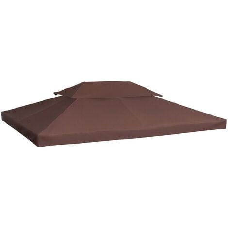 Toile de Rechange pour Pavillon Tonnelle Tente Polyester Haute Densité Imperméabilisé 180 g/m² 3 x 4 m Chocolat