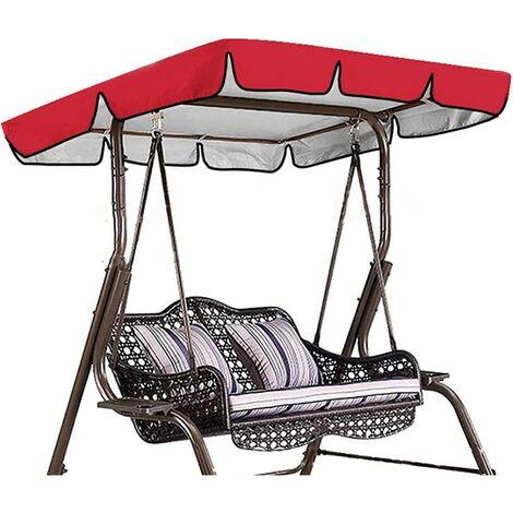 Toile de remplacement universelle pour balançoire de toit de balançoire de jardin, auvent de remplacement pour balançoire étanche (couleur: rouge, taille: 164*114*15cm)