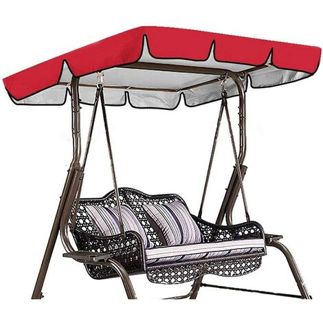 Toile de remplacement universelle pour balançoire de toit de balançoire de jardin, auvent de remplacement pour balançoire étanche (couleur: rouge, taille: 195*125*15cm)