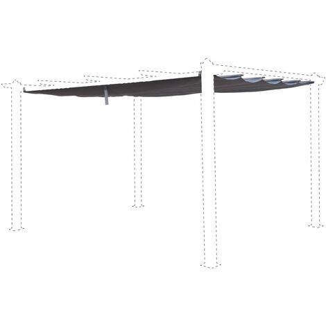 Toile de toit grise pour tonnelle 3x4m Condate - toile de rechange pergola, toile de remplacement