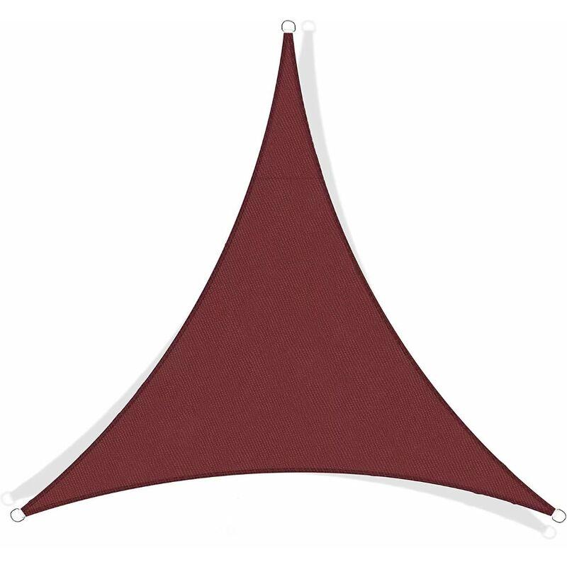 Perle Rare - Toile d'ombrage triangulaire en polyester imperméable anti-UV toile de parasol extérieur camping terrasse jardin (rouge foncé) 3*3*3m