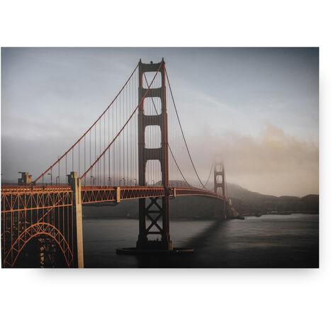 Toile Golden Gate Bridge 70 x 100cm Orange, Gris