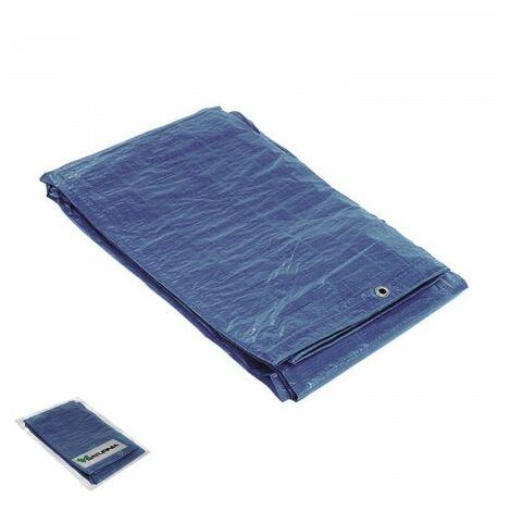 Toile imperméable renforcée 2 x 3 mètres(environ) avec oeillets métalliques, toile de protection durable, couleur bleue.
