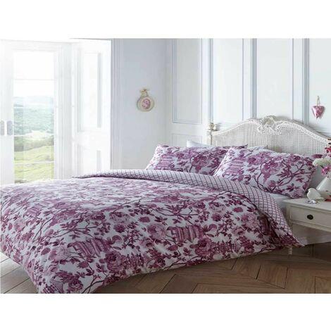 Toile Oriental Double Duvet Cover Set Bedding Bed Set Floral Pink