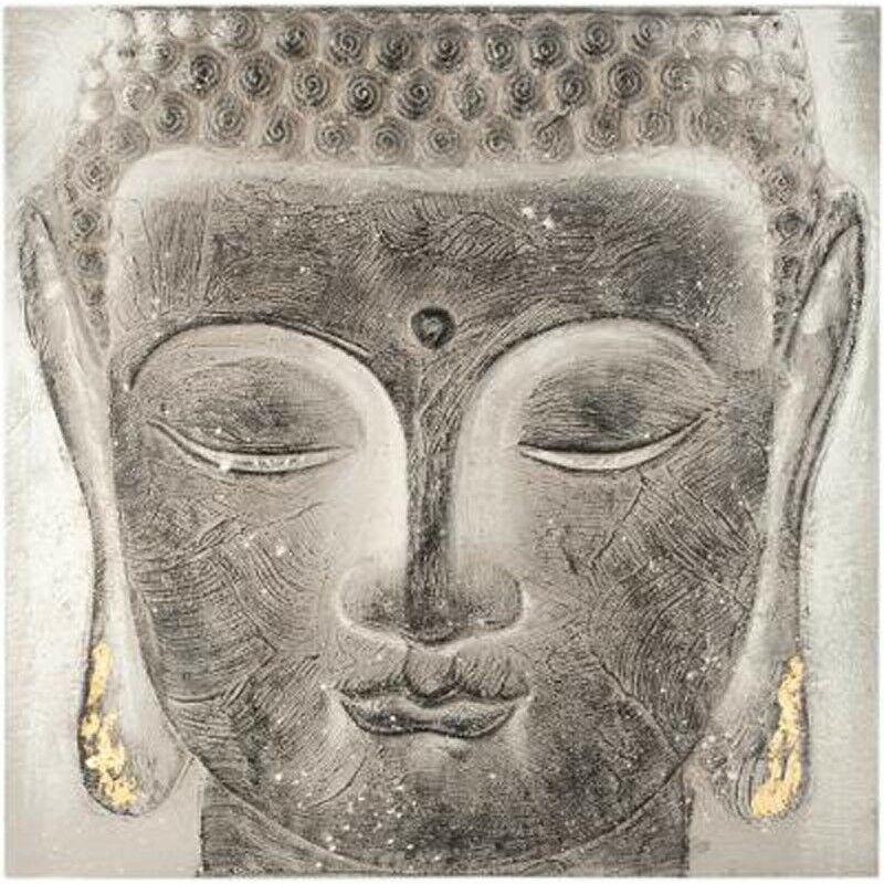 Toile Peinte en Relief Bouddha 58x58cm Gris