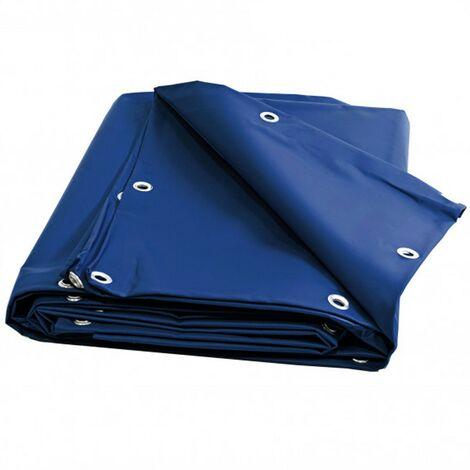 Toile pergola et tonnelle 680g /m² - bâche protection bleue 6x8 m