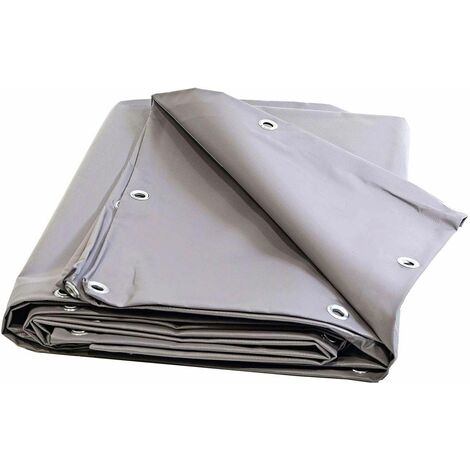 Toile pour pergola PVC 680 g/m² - 5 x 6 m - Bache PVC Grise - Etancheite toit terrasse - bache imperméable - pergola opaque