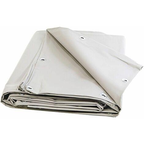 Toile pour pergola PVC 680 g/m² - Bache Ignifugée M2 - 6 x 8 m - Bache Blanche PVC - etancheite toit terrasse - pergola opaque
