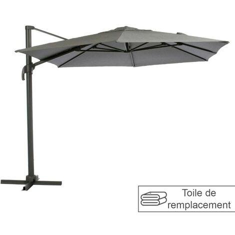 Toile remplacement hexagonale anthracite pour parasol Elea Hespéride - Gris Anthracite