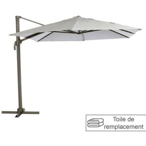 Toile remplacement hexagonale grège pour parasol Elea Hespéride - Grege