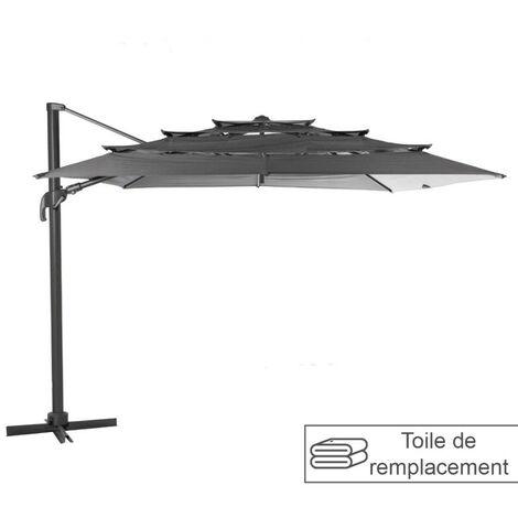 Toile remplacement pour parasol Eléa multi toiles ardoise Hespéride - Gris