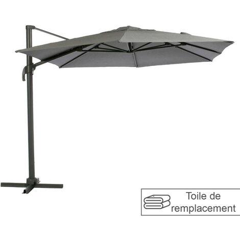 Toile remplacement rectangulaire anthracite pour parasol Elea Hespéride - Gris Anthracite