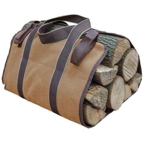 Toile Sac à bûche Cheminée Sac de chauffage Imperméable Transporteur de bois extérieur rangement pour le bois de