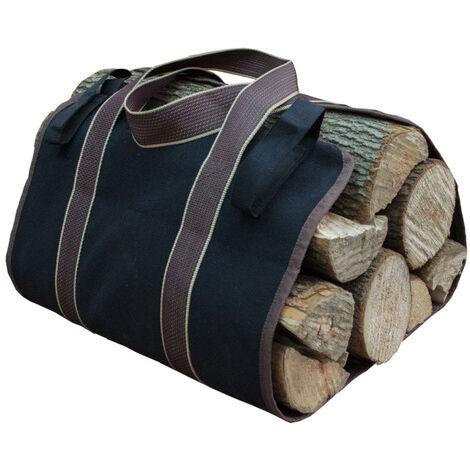 Toile Sac à bûche Cheminée Sac de chauffage Imperméable Transporteur de bois extérieur rangement pour le bois de avec anti-dérapantes Solide poignées Sangles Porte-bûches noir 36×16cm
