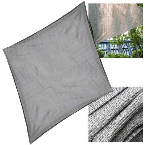 Toile solaire Voile ombrage Protection solaire UV Respirant PEHD Gris 5x5m Carré Tissu Balcon