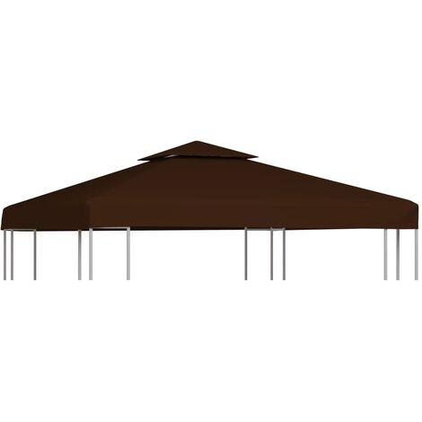 Toile supérieure double de belvédère 310 g/m² 3x3 m Marron