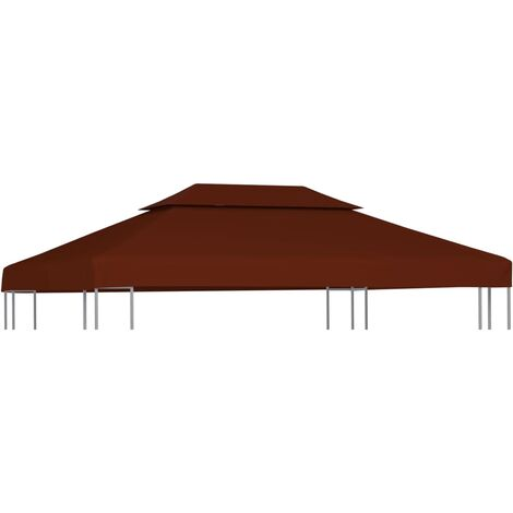 Toile supérieure double de belvédère 310 g/m² 4x3 m Terre cuite