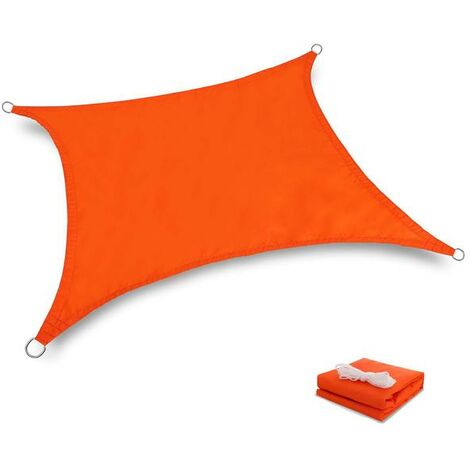 Toile Tendue Terrasse 2x2M Voile d'ombrage anti UV Protection des rayons UV tissou imperméable Résidérant Aux Intempéries Pour Terrasses Parcs Piscines, Orange