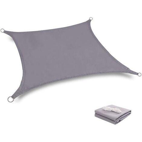 Toile Tendue Terrasse 2x2M Voile d'ombrage anti-UV Protection des rayons UV Tissu imperméable Résidérant Aux Intempéries pour Terrasses Parcs Piscines, Gris